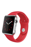 Apple Watch 42 MM Stainless Steel Case Red Sports Band
