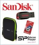 Memory Sandisk Cards & Portable Hard Drive